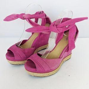 Ugg Pink Suede Wedge Sandals Tie Ankle Women 7